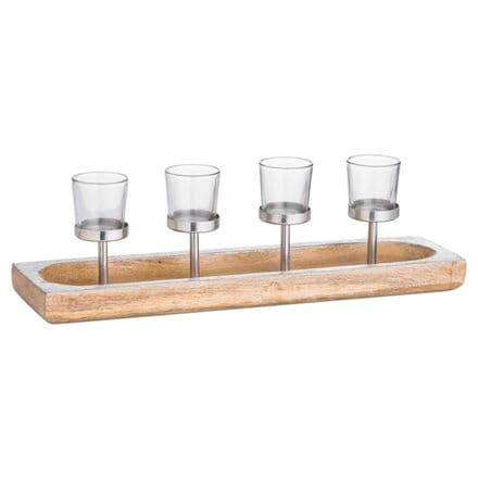 Hardwood Display Tray With Four Glass Tealight Holders
